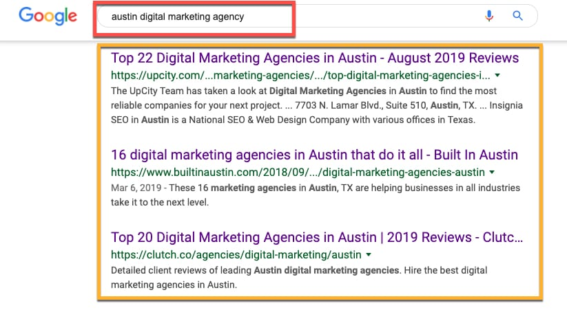 austin digital marketing agency search results
